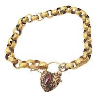 14 Kt. Georgian Style Star Link Bracelet with Oval Garnet  Circa 1860
