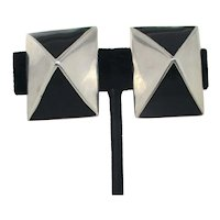 Black Enamel and Sterling Clip-on Earrings