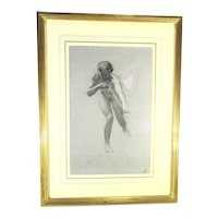 Adolf Hiremy-Hirschl  Drawing of Male Nude