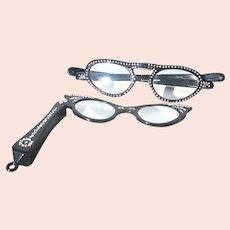 Pair of Ladies  Foldable Rhinestone Reader Glasses -A Pair of 2
