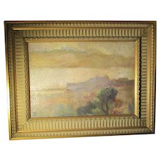 French Mid-Century  Oil On Linen Landscape  circa 1940s'