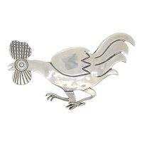 Tillett Sterling Silver Rooster Pin circa 1940s