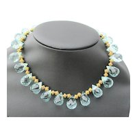 Crystal Faceted Necklace with Blue Crystal Teardrops