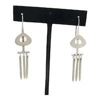 Sterling Silver Modernist Drop Earrings