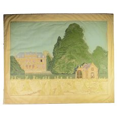 Antique Mid 19th Century Crewel Embroidery  Panel
