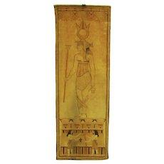 """Antique Belgian Mohair Velvet Egyptian Textile  """"Banner of Isis"""""""
