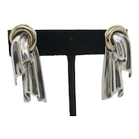 Tiffany Earrings Silver Drapes in Gold Rings  Post and Clip-on