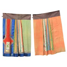 Chinese Silk Embroidery Skirt Qing Dynasty 19c,
