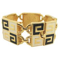 Givenchy Gilt Metal and Enamel Bracelet Paris New York