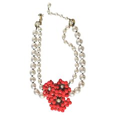 Miriam Haskell Faux Grey Pearl and Red Bead Floral Necklace