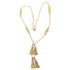 Kenneth Jay Lane Gold Chain and Pendant Necklace