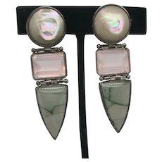 Stephen Dweck Jewelry Sterling Silver Hinged Earrings With Multiple Gems