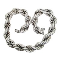 Vintage Mexican Double Rope Braid 925 Silver Chain
