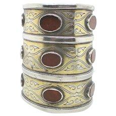 Long Silver  and Carnelian Cuff Berber Tribal Jewelry