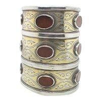 Long Silver  and Carnelian Cuff  Tekke  Turkoman Jewelry Antique