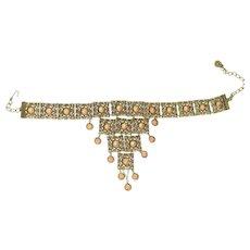 Filigree Gold Tone Choker Costume Jewelry