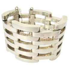 Mexican Sterling Silver 925 Articulated Hinged Bracelet Vintage 50s'