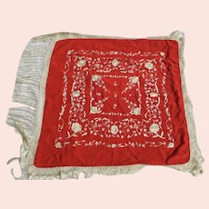 Chinese Red Silk Shawl with White Fringe