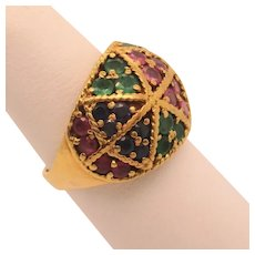 Emerald, Sapphire, and Ruby 18kt. Ring
