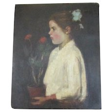 Jozsef  Koszta Oil on Panel Girl with Flower