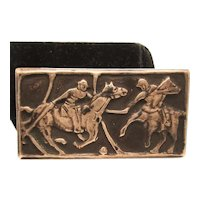 Polo Player Pictorial Panel Pin in Sterling Silver 925