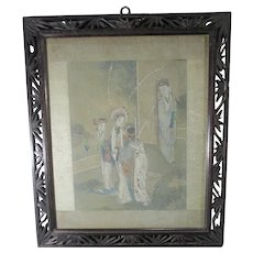 Chinese Antique Watercolor   Opera ladies