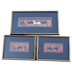 Set of 3 framed Greek Vase Painting Prints Sir William Hamilton  18th century