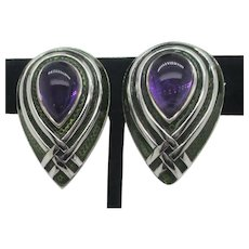 Vintage Amethyst and Enamel Clip-on Earrings