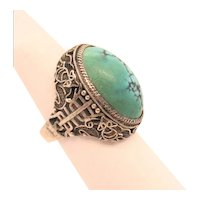 Chinese 1930 Turquoise Matrix And Sterling Silver 925 Ring