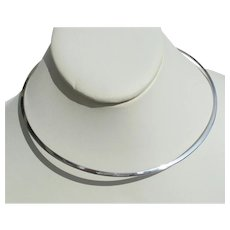 Sterling Silver Collar Necklace Hook and Loop Latch