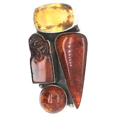 AKR Sterling Silver and Amber Citrine  Modernist Pin/Pendant