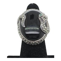 Marcasite and Sterling  Silver Snake on Onyx Ring