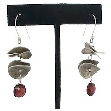 Modernist Sculptural Design  Sterling Silver Earrings