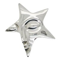 Star Face Sterling Silver Modernist  Pin