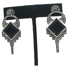 Marcasite and Onyx Post Earrings