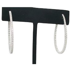 14Kt. Cubic Zirconia Hoop Earrings Vintage 1980s'