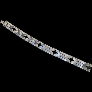 Sterling Silver Geometric Link Bracelet Vintage 1980s'