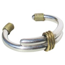 Modernist Sterling and Brass Cuff Bracelet Vintage 1970s'
