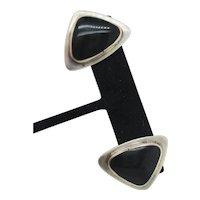 Sterling Silver and Black Onyx Modern Earrings