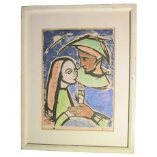 Hildegard Rath Serigraph The Good for Nothing and the Beautiful lady.  dated 1958