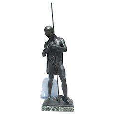 "Ludwig  Eisenberger Bronze  Sculpture ""Ready the Armor""  circa. 1920s'"