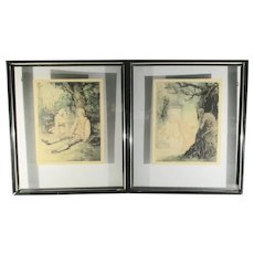 Pair of French Erotic  Hand-colored Etchings  Vintage 1920s'