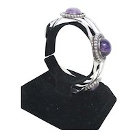 Amethyst and Sterling Silver Cuff Vintage 30's-40s'