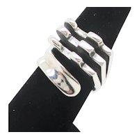 Modernist Split Ring Sterling Silver Vintage 1960s'