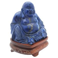 Lapis Lazuli Carved Hotei on Inlaid Wooden Stand Vintage
