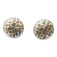 Chanel Gilt Half Round Earrings With Interlocking C Monograms in Silver Color