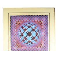 "Victor Vasarely ""Hang"" 1979 Geometric Op Art Silkscreen   49/250"