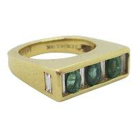 Joe Hess 18kt. Emerald and Baguette Vintage Ring