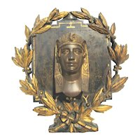 Napoleon III Bronze Pharaoh Head on Carved Floral Mounting