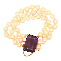 Amethyst and  Cultured Pearl Bracelet in 14kt. Gold